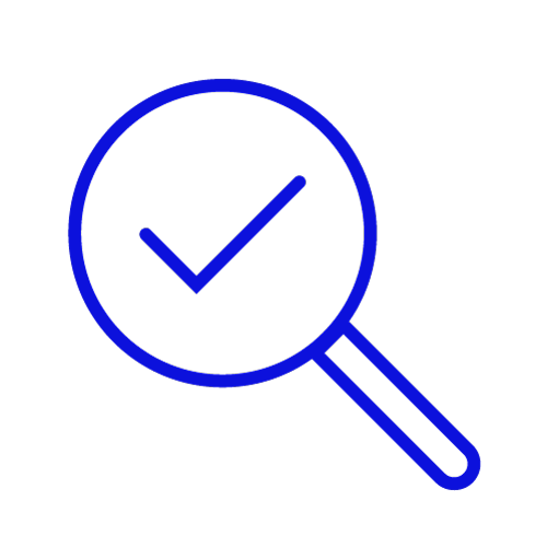 Blue icon showing a magnifying glass looking at a tick