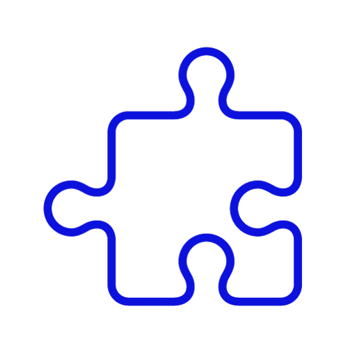 Blue icon showing a single jigsaw piece
