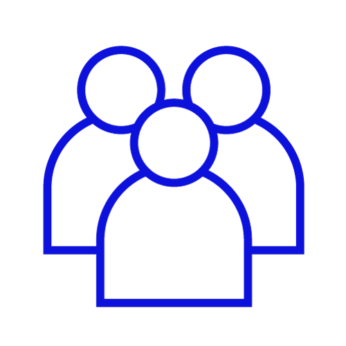 Blue icon showing three people