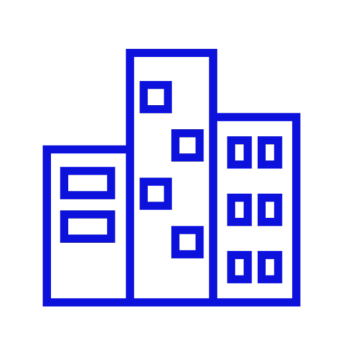Blue icon showing three buildings