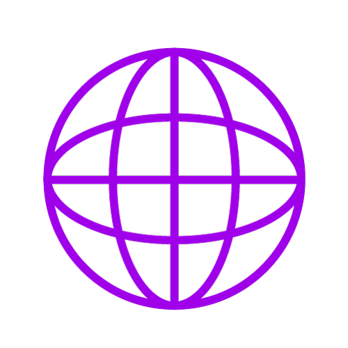 Purple icon showing a globe