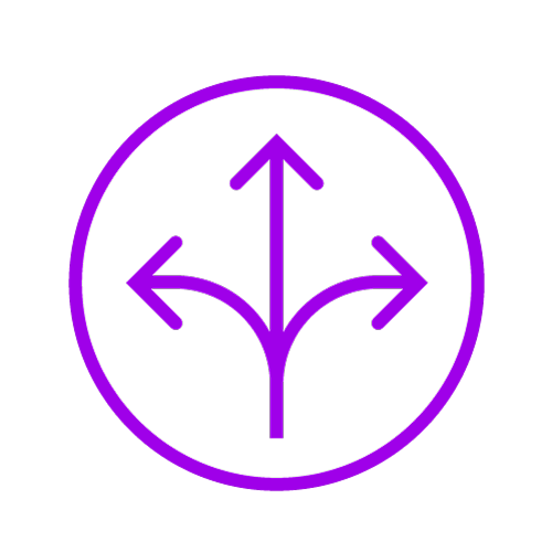 Purple icon showing a crossroads