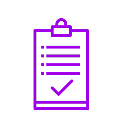 Purple icon showing a clipboard with a tick