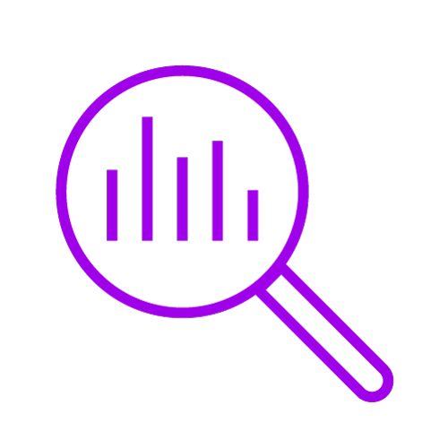 Purple icon showing a magnifying glass looking at a graph