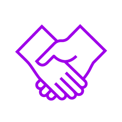 Purple icon showing a handshake