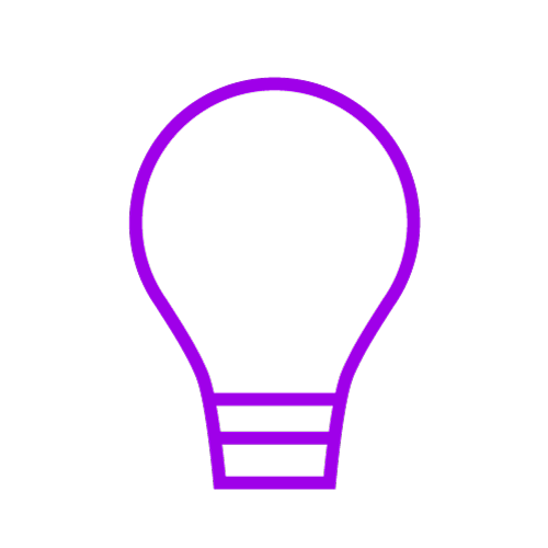 Purple icon showing a lightbulb