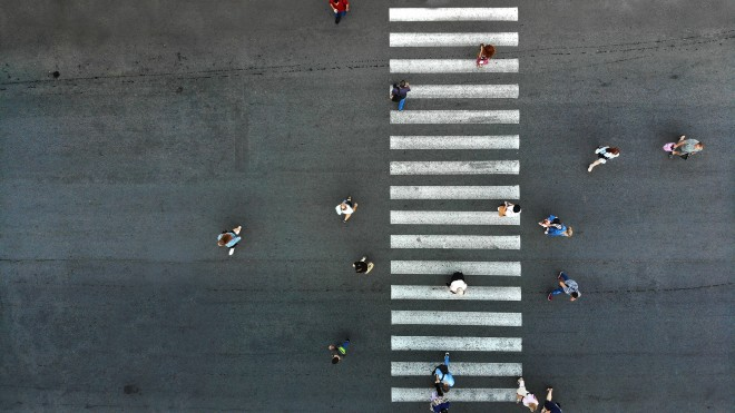 people cross street